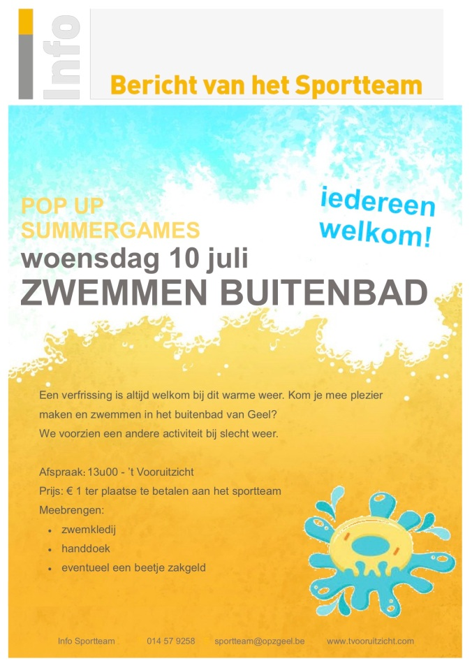pop up summergames zwemmen